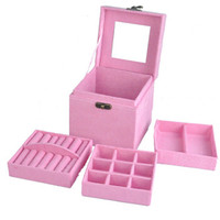 Newest Three Layers Makeup Accessories Organizer Cosmetics Storage Cabinet Jewelry Box Flannel Case With Mirror And