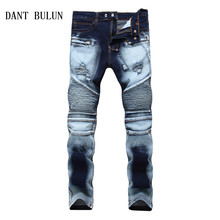 ФОТО dant bulun dropshipping men's  jeans biker ripped denim pants with zippers pleated straight skinny men jeans retro trousers
