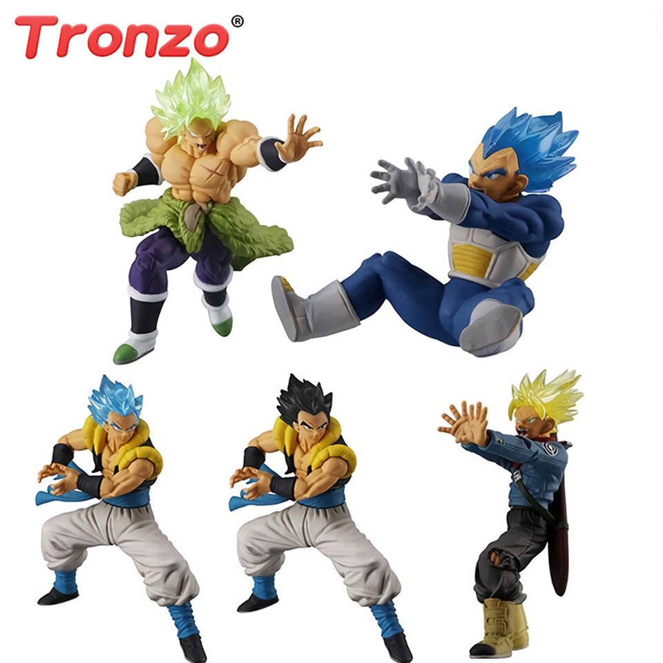 Tronzo Original Bandai Dragon Ball Vegeta Gogeta Super 09 HG Gashapon Broly Trunks PVC Action Figure Modelo Brinquedos DBZ Boneca presente