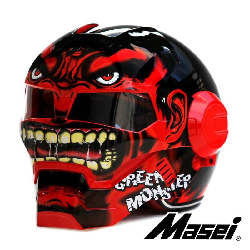 MASEI 610 rouge géant Hulk casque de moto IRONMAN fer homme casque demi casque visage ouvert casque motocross