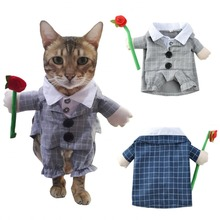 NEW Dog Costume Plaid Funny Flower Pet Cat Puppy Suit Dressing Up Party Clothes For Cosplay 2 Color