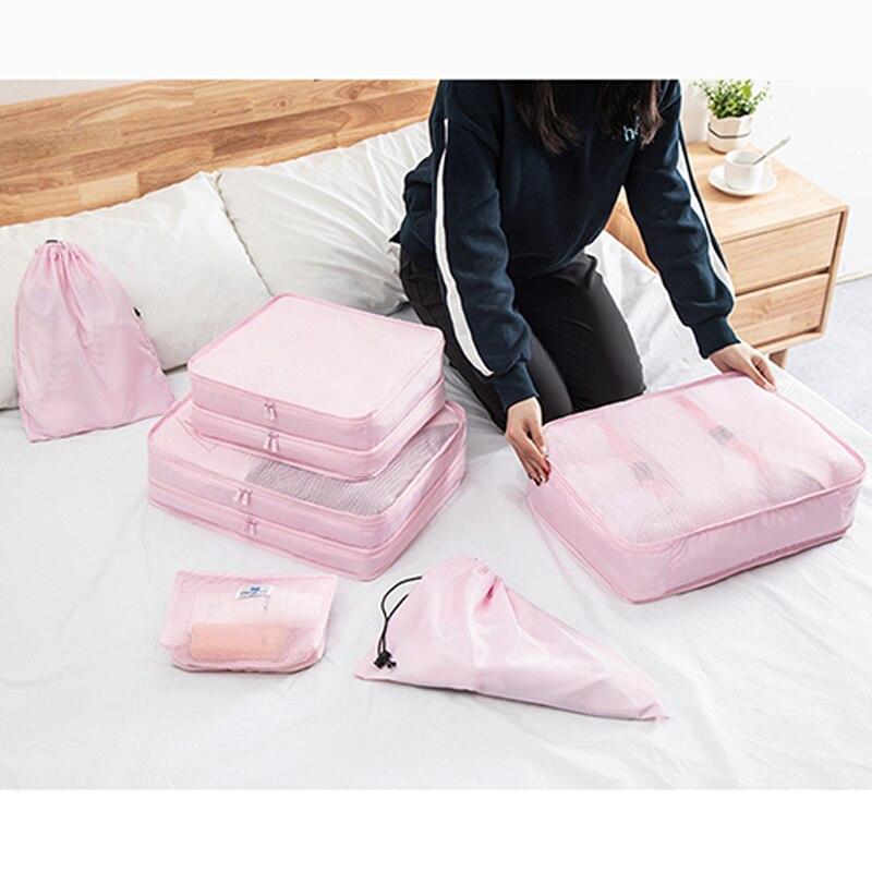 Paquet de stockage de bagages ensemble sac de voyage en tissu en maille dans le sac organisateur de bagages Cube d'emballage pour vêtements accessoires de voyage
