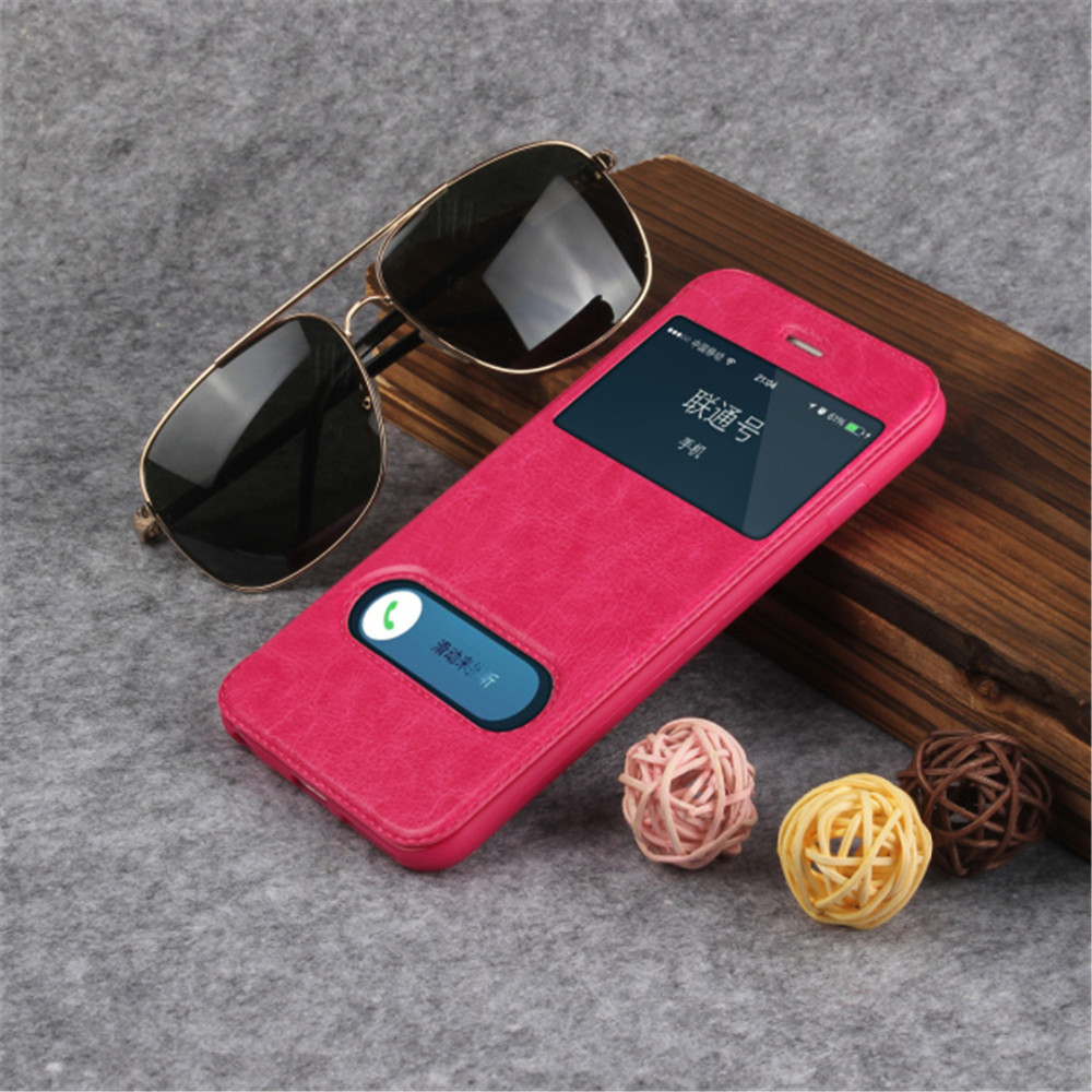 Luxury Smart Front Window View Leather Case For iPhone 5 5S SE  Cover Flip Ultra Thin Smart Sleep Phone Cases