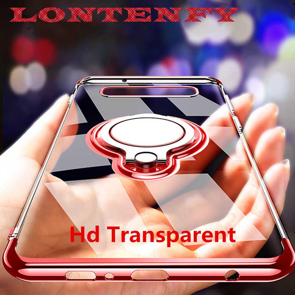LONTENFY رقيقة جدا شفافة الهاتف حقيبة لهاتف سامسونج غالاكسي S9 S8 زائد S10 Note9 A6 سيارة المغناطيسي حالة البنصر حامل غطاء