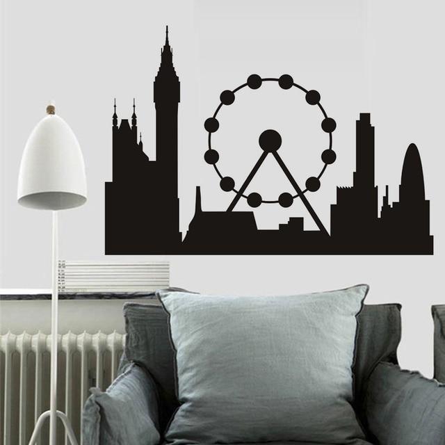 black mural london skyline landmark silhouette vinyl wall art decals