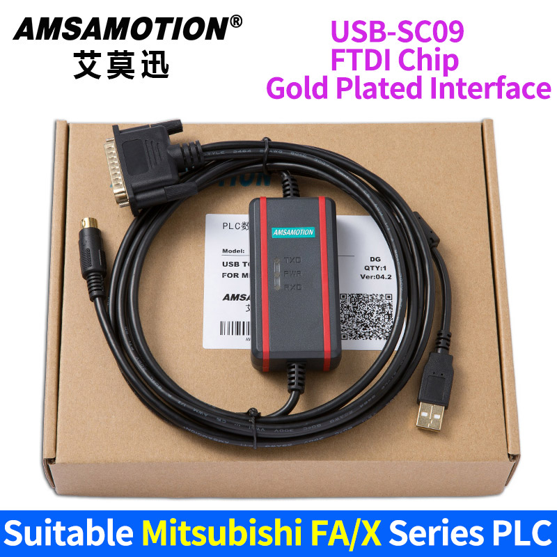 Suitable Mitsubishi FX/X Series PLC programming Cable USB-SC09+ usb ge ge90 usb programming cable series ge90 series plc programming cable