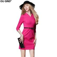 Women Work Dress 2018 Autumn Three Quarter Sleeve Rose Red Slim Pink Office Lady Dress Plus Size Dress With Blet L-XXXL