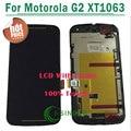 1/pc negro, blanco lcd de pantalla para motorola para moto g2 g + 1 xt1063 lcd pantalla táctil del digitizador + conjunto del bastidor