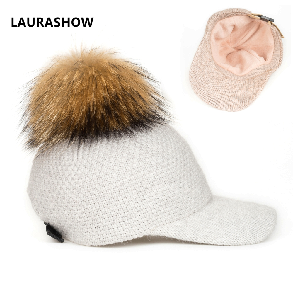 LAURASHOW Fur Ball Pompoms Warm Cap Winter Baseball Cap Women Knit Wool Hat unisex winter plicate baggy beanie knit crochet ski hat cap red