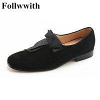 Men Shoes Black Suede Big Bowtie Dandelion Brand Design Fashion Low Square Heels Men Loafers Top