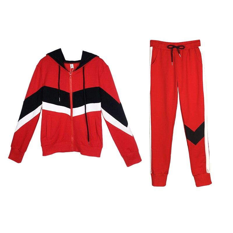 Deux pièce Couleur Capuche Casual Printemps Pieds 2 Sport Automne Impression Red black À Costume blue Femmes Pantalon Correspondant Mode Ensemble Sweat qrZ6ZXC8wx