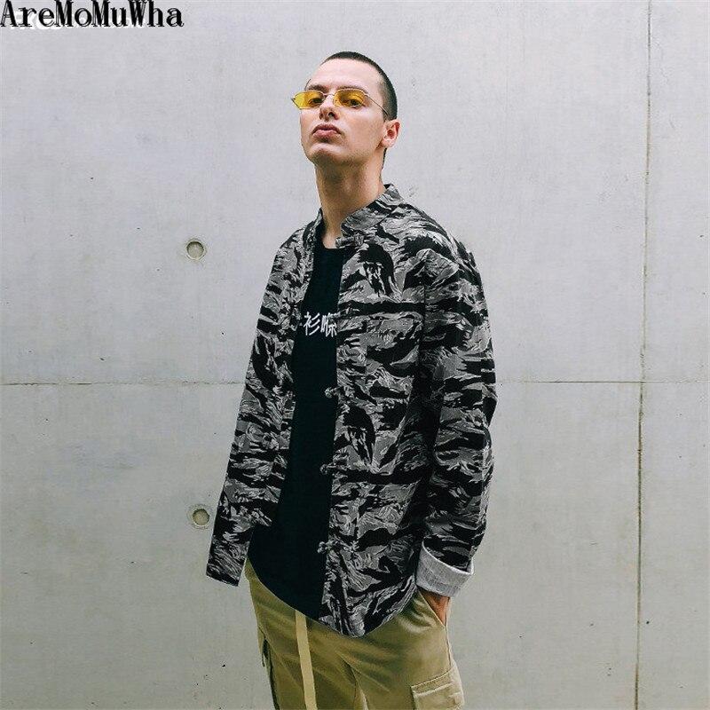 AreMoMuWha automne nouveau style européen et américain rue tendance tigre motif camouflage hommes col montant chemise à manches longues QX083