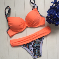 Hot Sexy Orange Bandeau Swimsuit Strappy Bra Push Up Bikini With Cup Bandage Swimwear Women Printed