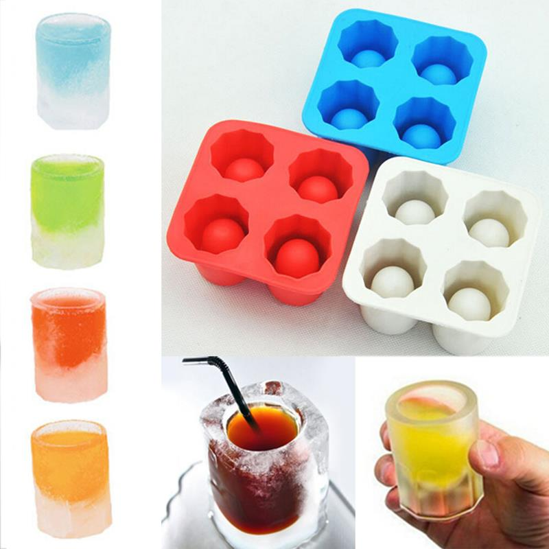 4 Cup Freeze Mold Ice Tubs Bar Party Drink Ice Tray Cool Shape Freeze Mold Ice Maker Rubber Shooters Shot Glass