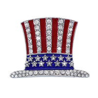 collection US Ballot rhinestone crystal American USA Flag Star Brooch Pin