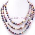 8-10mm Natural Pearl Multicolor Freshwater Freeform Gem Stone Handwork Fashion Sweater Necklace 60 Inch Not Button,Free shipping