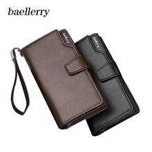 все цены на Baellerry 2018 Fashion Brand Men Wallets PU Leather Long Purse Wallet Male Clutch Zipper Wallet Men Business Male Wallet Coin онлайн