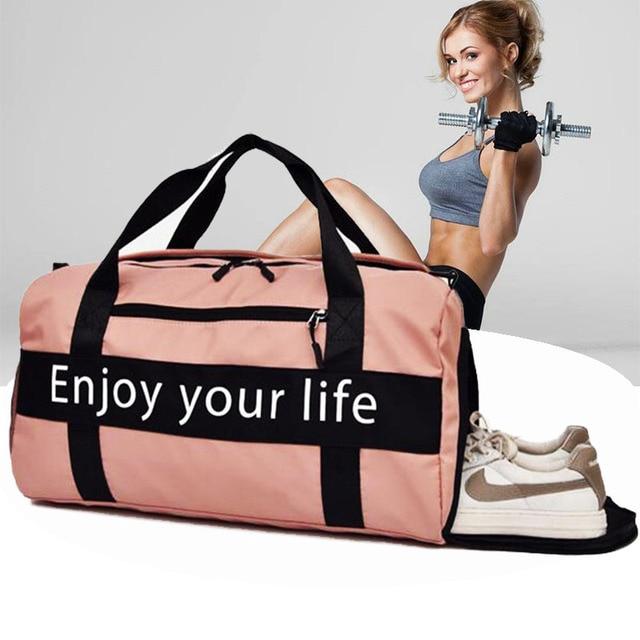 Women Pink Sports Bag Men Black Nylon Waterproof Gym Bag Independent Shoe Position Luggage Storage Handbag Outdoor Travel Bags