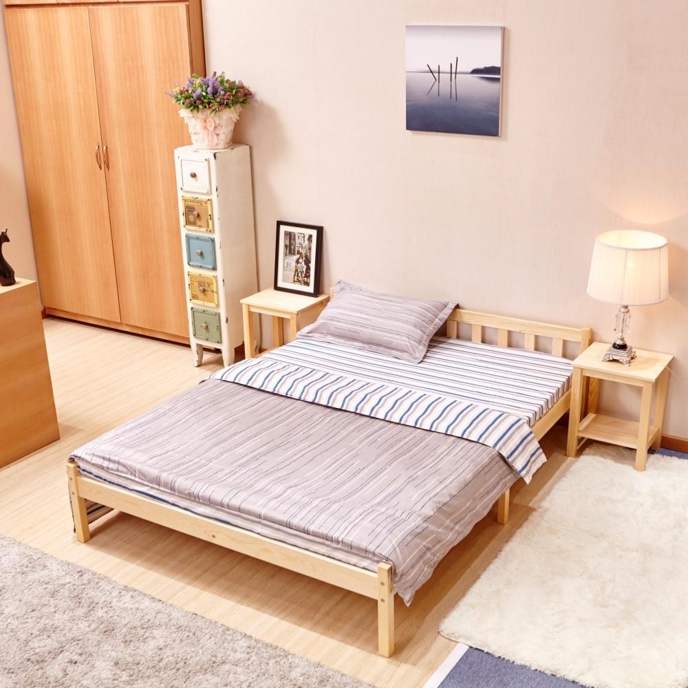 cama doble de madera maciza de pino moderno muebles de dormitorio simple de la venta caliente