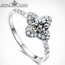 Jewellwang Original Moissanite Rings For Women 18K White Gold Lily Design Wedding Rings Engagement Diamond Group Set Fine Gift