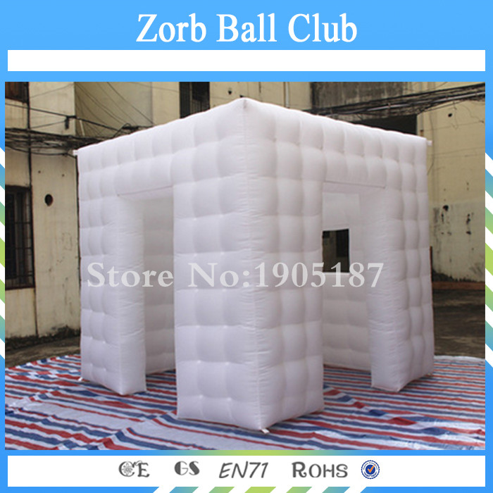 Free Shipping 2.25x2x2.25m Promotional New LED Inflatable Square Photo Booth For sale With Two Door