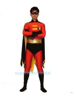 Red Robin Costume Batman Spandex Red Black Robin Cosplay costume Halloween Party Superhero Costume adult free shipping