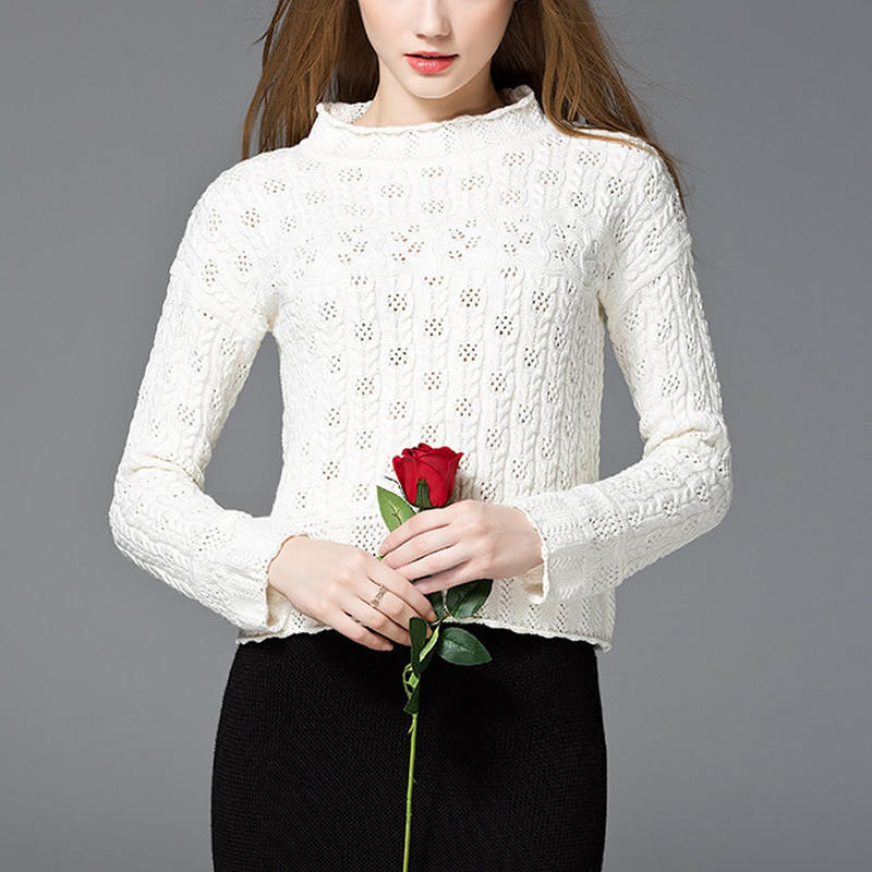 2017 new fashion Women Neck Long Sleeve Hollow Out Knit Sweater Sexy Solid Pullover Jumper christmas sweater women
