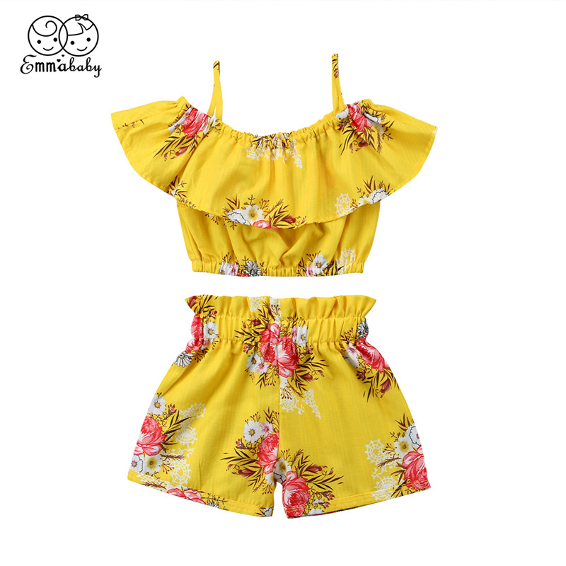 2pcs/Set Kids Girls Clothes Baby Girl Floral Ruffled Tops Sleeveless Suspenders Vest+Shorts Pants 2018 Summer Children Clothing 2pcs children outfit clothes kids baby girl off shoulder cotton ruffled sleeve tops striped t shirt blue denim jeans sunsuit set