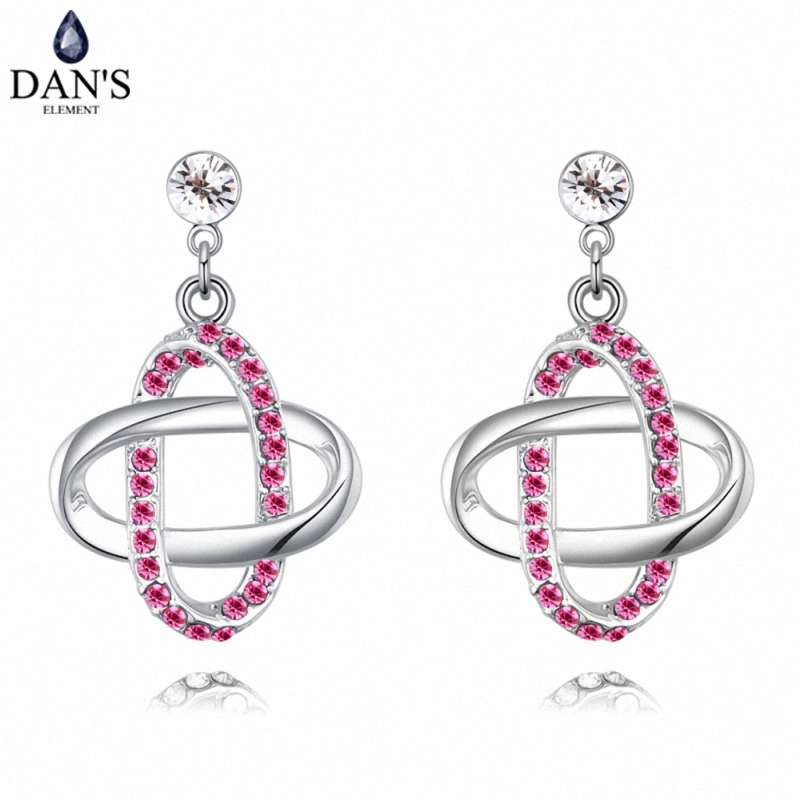 DANS 5 Colors Real Austrian crystals Stud earrings for women Earrings s New Sale Hot Round 127955