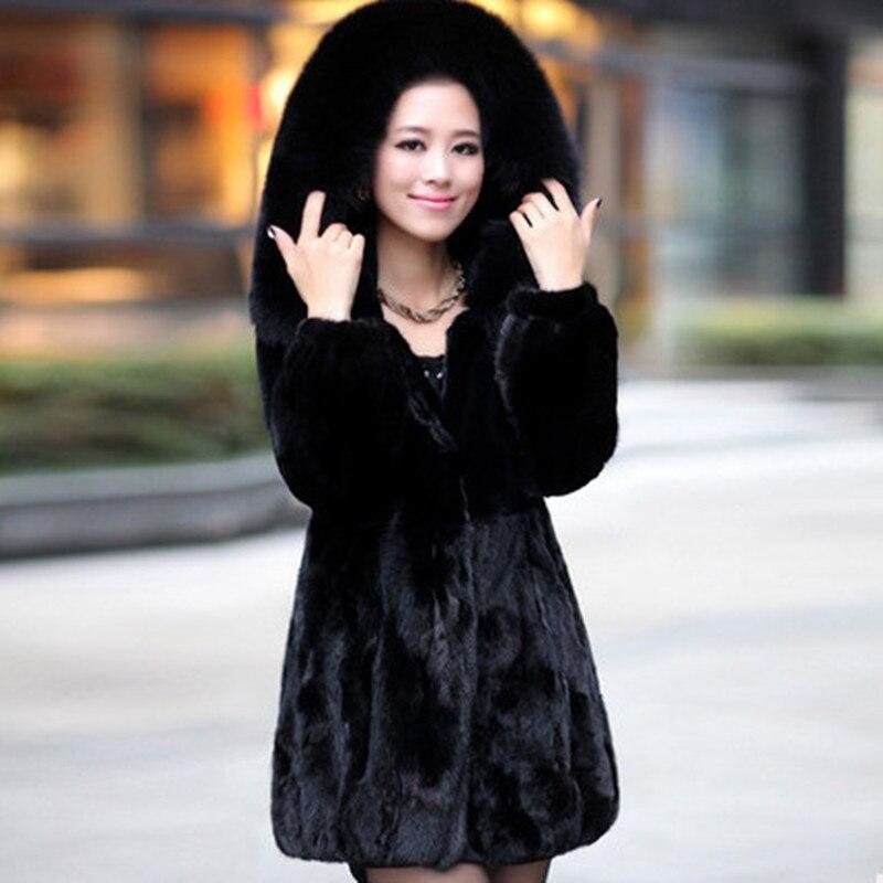 (TopFurMall) Lady Natural Mink Fur Coat Jacket With Rex Rabbit Fur And Fox Fur Hoody Winter Women Fur Outerwear Coats 4XL VK0964