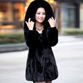2016 Lady Genuine Natural Mink Fur Coat Jacket with Rex Rabbit Fur and Fox Fur Hoody Winter Women Fur Outerwear Coats 4XL VK0964