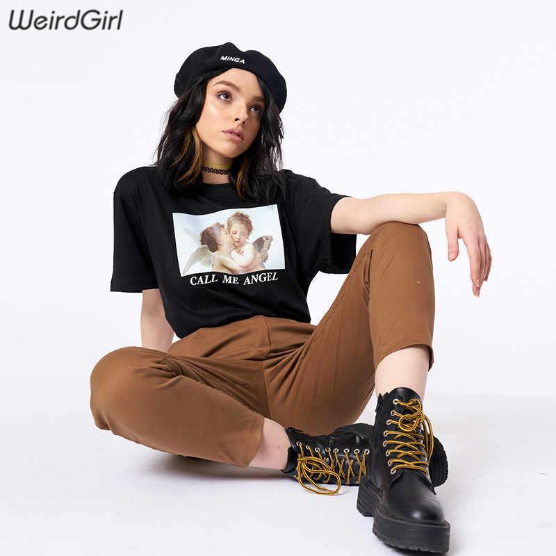 Weirdgirl женский маленький ангелочек с принтом, повседневные модные футболки с буквенным принтом, короткий рукав, круглый вырез, черные свободные женские футболки, новые летние 2019
