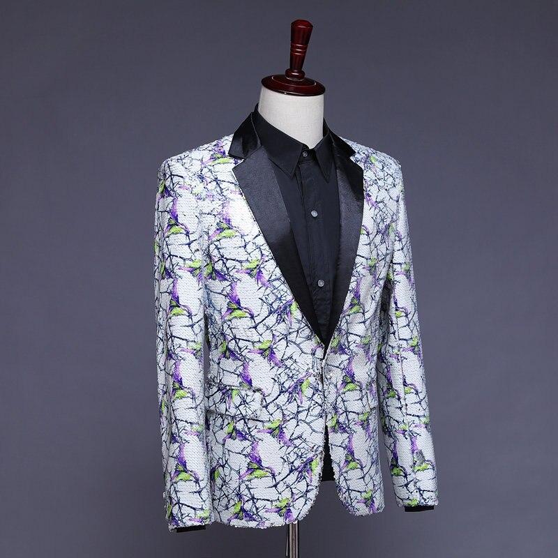 Stilvolle Herren Glitter Blazer Männer Pailletten Blazer Heren Colberts Americana Hombre Bling Anzug Männer Jacke Blazer Steampunk Homme - 3
