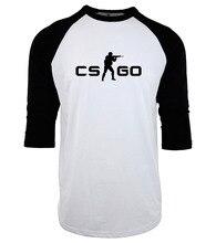 funny CS GO print plus size three-quarter sleeve camisetas 2017 fashion hip-hop raglan geek T-Shirts men crossfit brand clothing