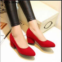 Cdts Popular Shoes Woman Spring And Autumn Red Wedding Zapatos Mujer 2016 Thick Heel Single Maternity