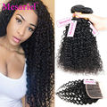 Top Quality Brazilian Curly Virgin Hair With Lace Closure Unprocessed Brazilian Kinky Curly Virgin Hair 3 Bundles With Closure