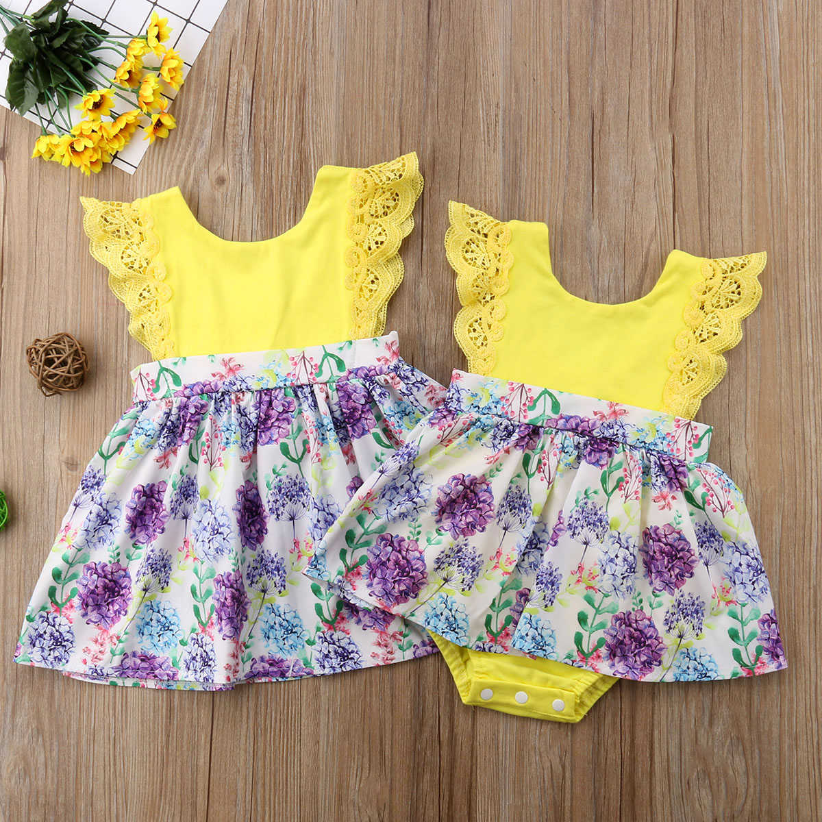 31a7b99d8 2018 Toddler Kid Baby Girls Lace Flower Yellow Sister Match Romper Dress  Outfits Clothes Family Matching Yellow Cute Summer Set
