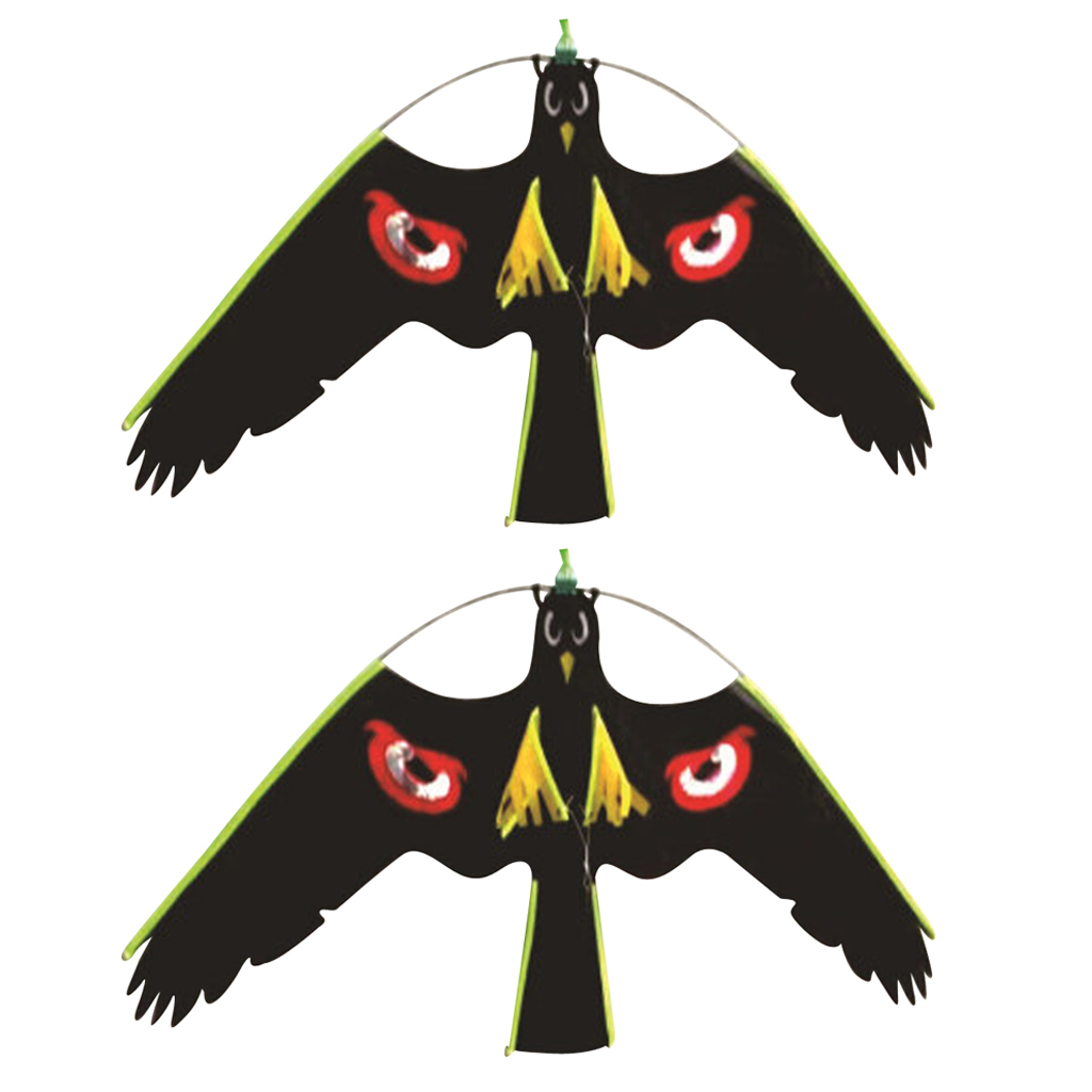 2x #3 Large Hawk Kite Scarecrow Decoy Bird Scarer Deterrent Protect Farmers Crops Outdoor Kids Toys Black Kites Windsock
