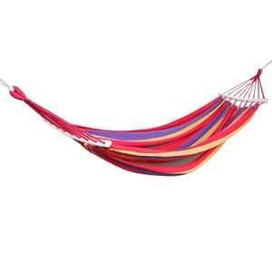 Image 2 - Double Hammock 450 Lbs Portable Travel Camping Hanging Hammock Swing Lazy Chair Canvas Hammocks(Red)