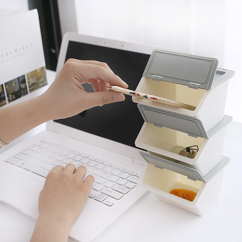 Coloffice Japanese Pure Color Plastic Storage Box Desktop Stationery Holder Student Stationery Multifunction Office Supplies 1PC