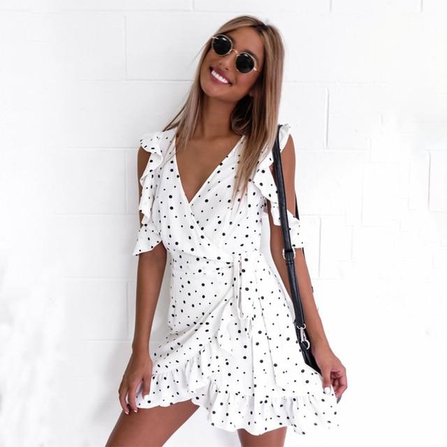 f71eaf827 Volante corto Vestido corto con volantes corto vestido casual verano Polka  Dot Vestidos blanco V profundo