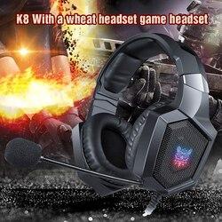 ONIKUMA K8 PS4 Игровые наушники, шлем для ПК, стерео игровая гарнитура с микрофоном и светодиодсветильник кой для ноутбука, планшета/Xbox One Gamer