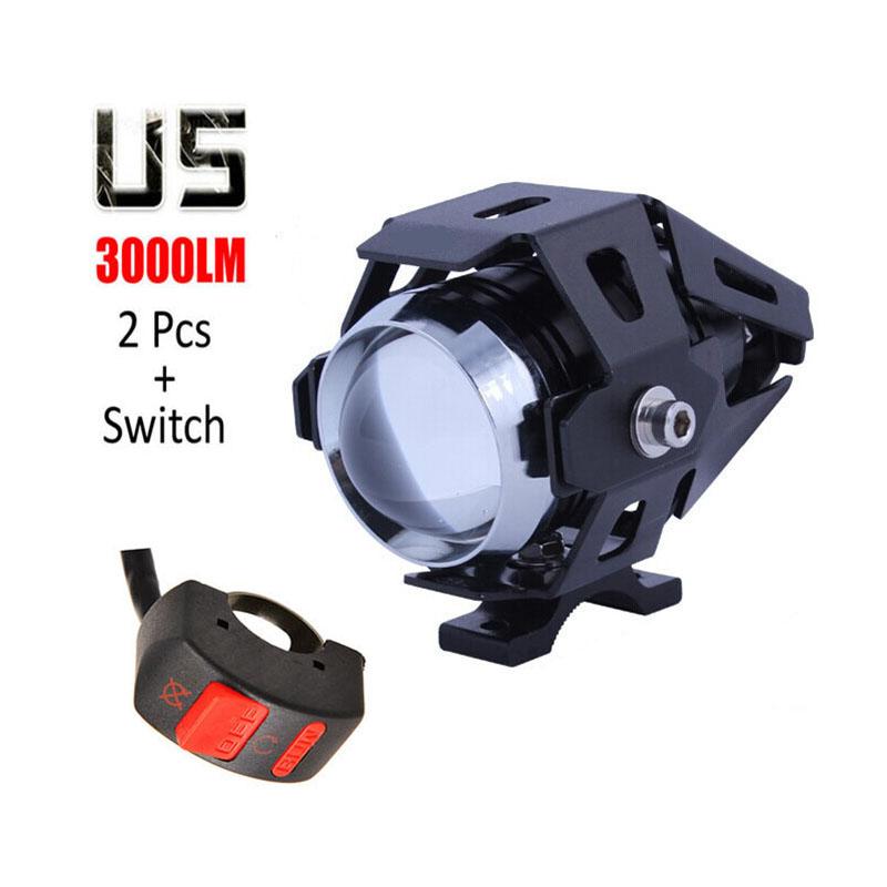 Prix pour 2 pcs 125 w U5 Moto Phare cree LED puce de voiture Brouillard Lumière DRL 3000LM projecteur phares spot lampe ange DRL Avec interrupteur