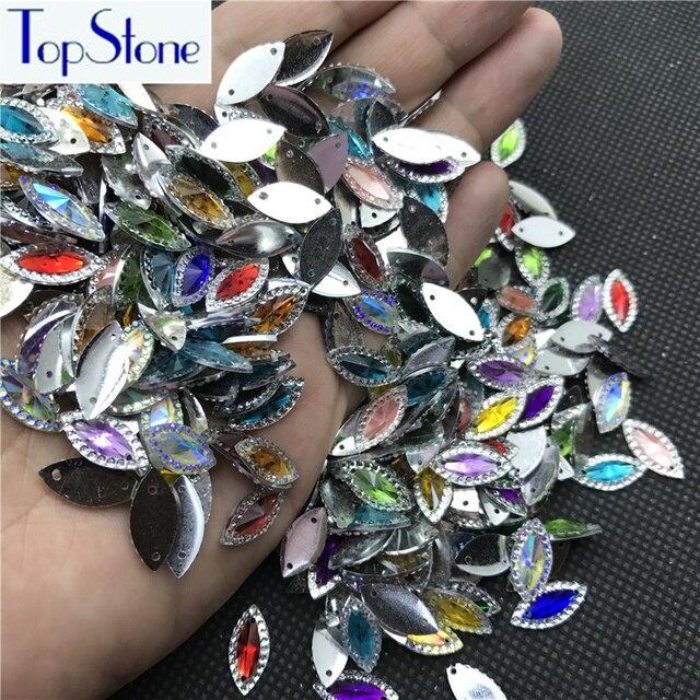 100 stks 7x15mm Navette AB Crystal Naai Rhinestone Superior Taiwan Acryl Platte Achterkant Marquise Naaien-op Steen Jurk Maken