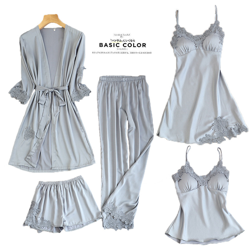 Suit Robe Nightwear Pajamas Sleepwear-Sets Kimono Top-Pants Bath-Gown Womens 5PC Autumn title=