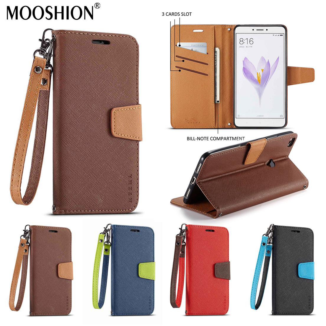 Mooshion Cases for For Xiaomi mi Max 2 Case PU Leather Magnetic Flip Wallet cover for xiaomi max 2 mi max2 Silicone Cards Slot