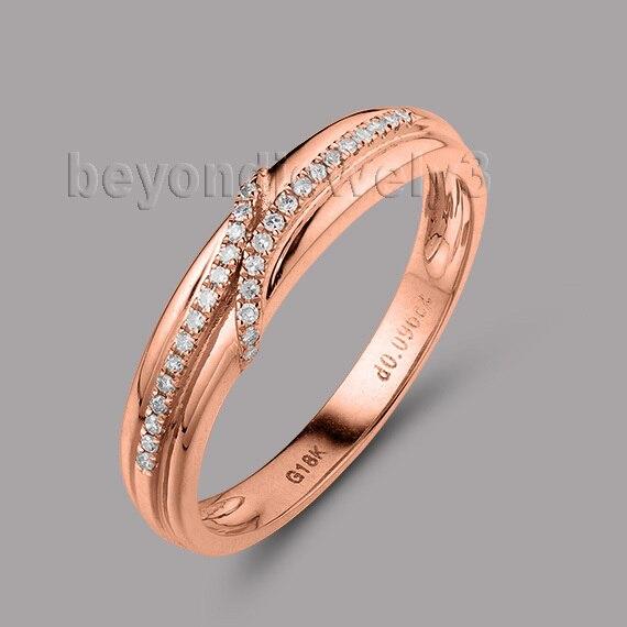 Nouveauté!!! solide 18Kt or Rose naturel Dia bague de fiançailles de mariage SR0040