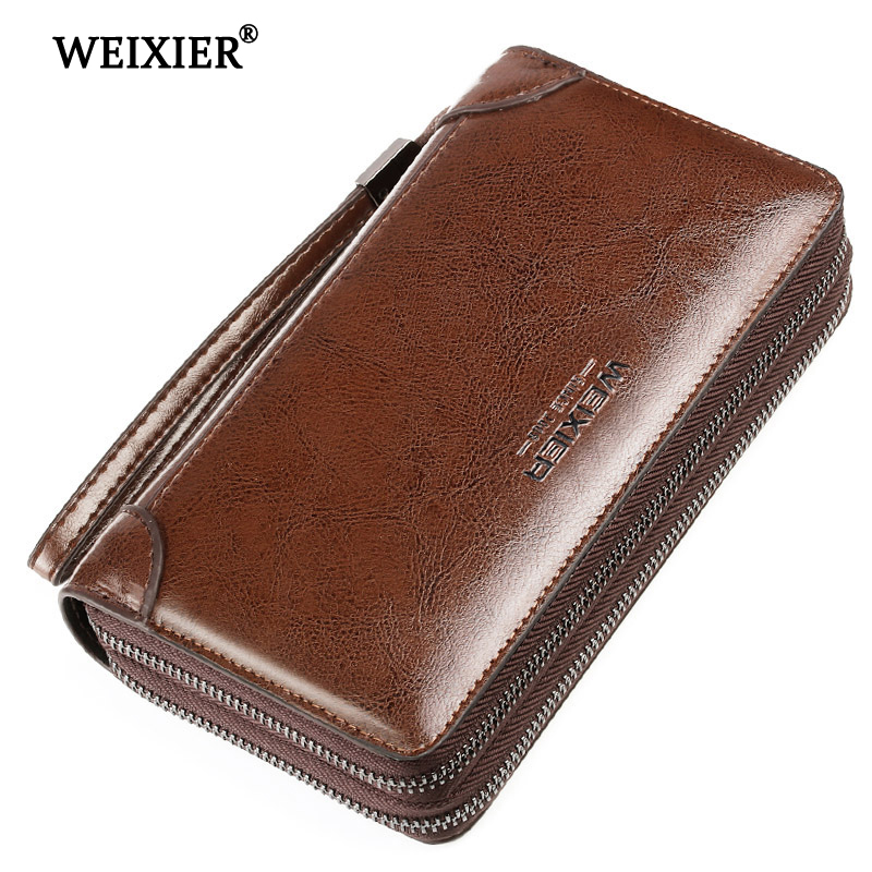 WEIXIER 2019 New Genuine Leather Men Clutch Bags Wallets Leather Men Bags Wallet Leather Long Wallet With Coin Pocket Men Purse