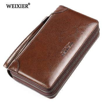 WEIXIER New Genuine Leather Men Clutch Bags Wallets Wallet Long With Coin Pocket men Purse