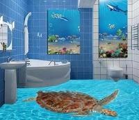 3d Flooring Turtle Sea World Bathroom 3D Floor Painting 3d Floor Painting Wallpaper Pvc Self Adhesive